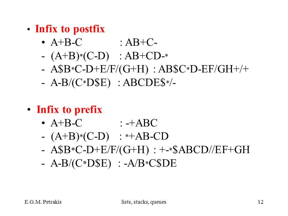 E.G.M. Petrakislists, stacks, queues12 Infix to postfix A+B-C : ΑΒ+C- - (A+B) * (C-D) : AB+CD- * - Α$Β * C-D+E/F/(G+H) : AB$C * D-EF/GH+/+ - A-B/(C *