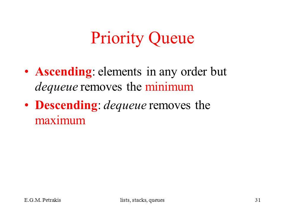 E.G.M. Petrakislists, stacks, queues31 Priority Queue Ascending: elements in any order but dequeue removes the minimum Descending: dequeue removes the
