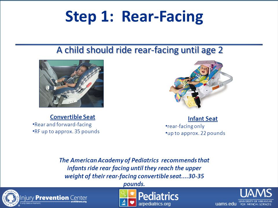 archildrens.org uams.edu arpediatrics.org uams.edu arpediatrics.org A child should ride rear-facing until age 2 A child should ride rear-facing until age 2 The American Academy of Pediatrics recommends that infants ride rear facing until they reach the upper weight of their rear-facing convertible seat....30-35 pounds.