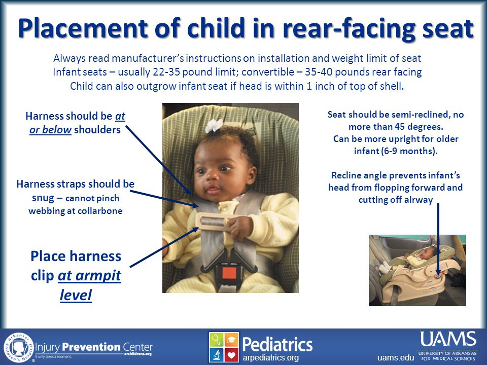 archildrens.org uams.edu arpediatrics.org uams.edu arpediatrics.org Seat should be semi-reclined, no more than 45 degrees.