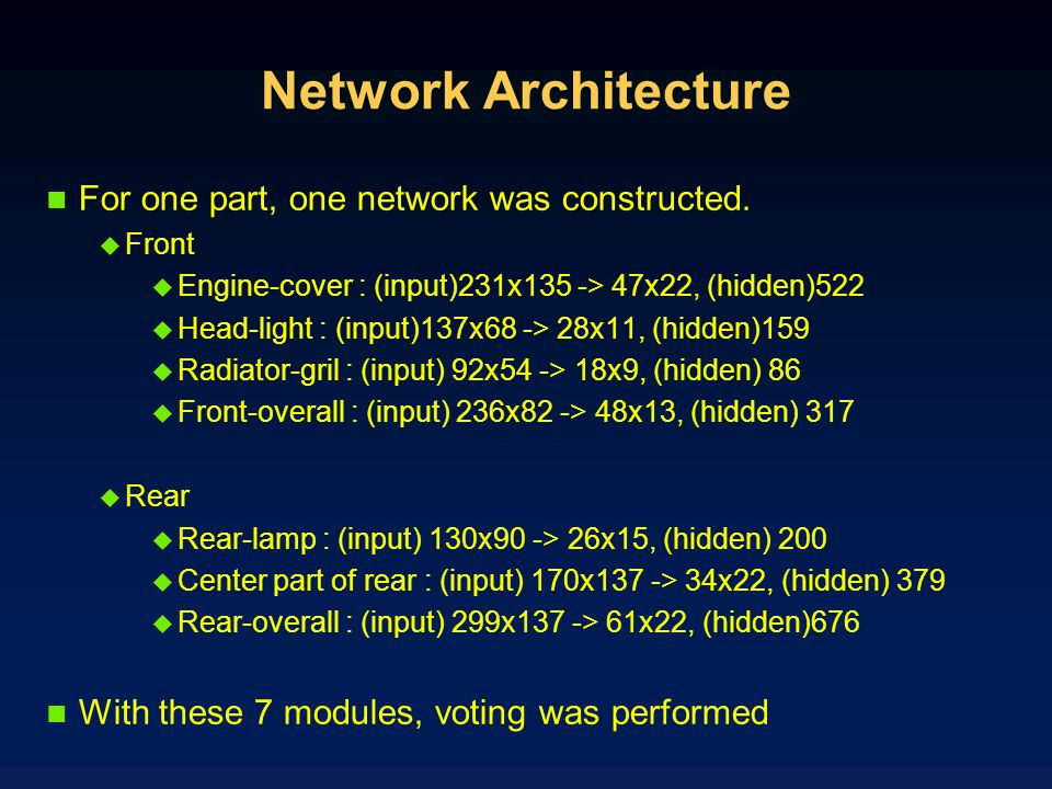 Network Architecture For one part, one network was constructed.
