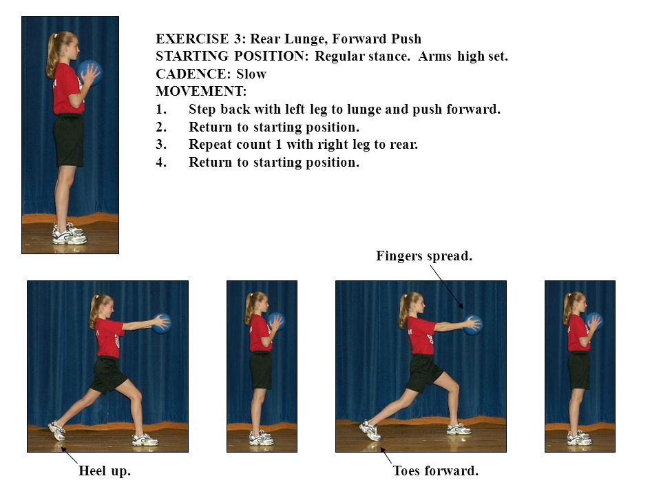 EXERCISE 3: Rear Lunge, Forward Push STARTING POSITION: Regular stance. Arms high set. CADENCE: Slow MOVEMENT: 1.Step back with left leg to lunge and