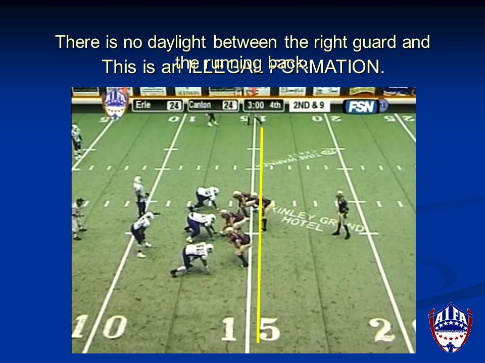 If in doubt, the running back or linebacker should take a step back, because if it is too close for the official to determine in an instant, the formation will be ruled as illegal.