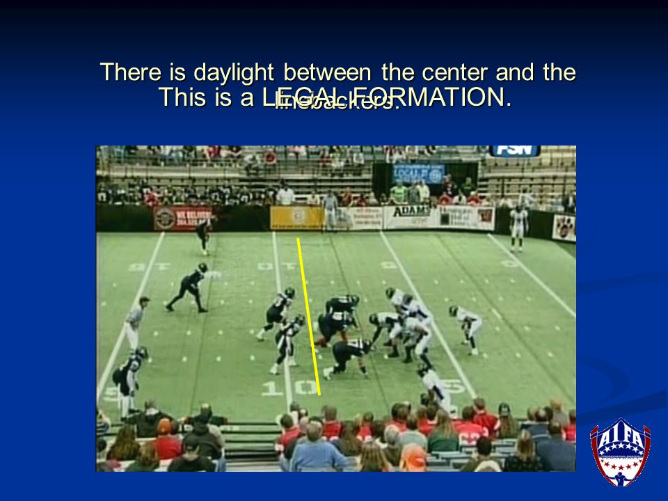 There is no daylight between the left guard and the running back. This is an ILLEGAL FORMATION.