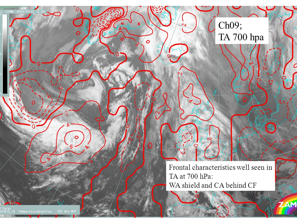 27 Ch09; TA 700 hpa Frontal characteristics well seen in TA at 700 hPa: WA shield and CA behind CF