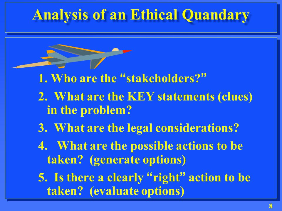 8 Analysis of an Ethical Quandary 1.Who are the stakeholders? 2.