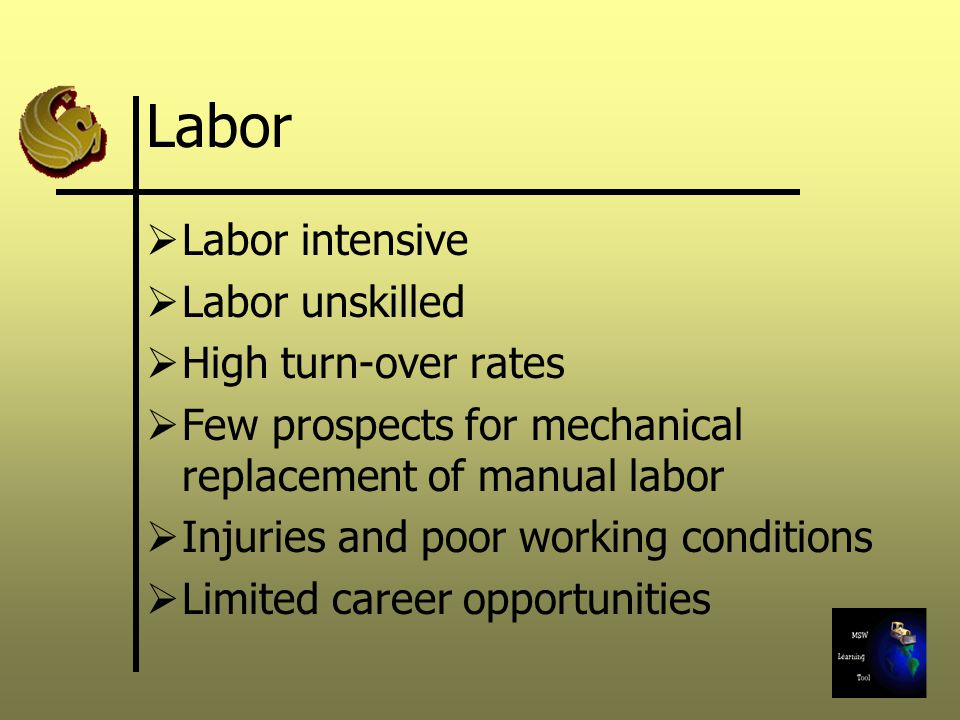 Labor  Labor intensive  Labor unskilled  High turn-over rates  Few prospects for mechanical replacement of manual labor  Injuries and poor working conditions  Limited career opportunities