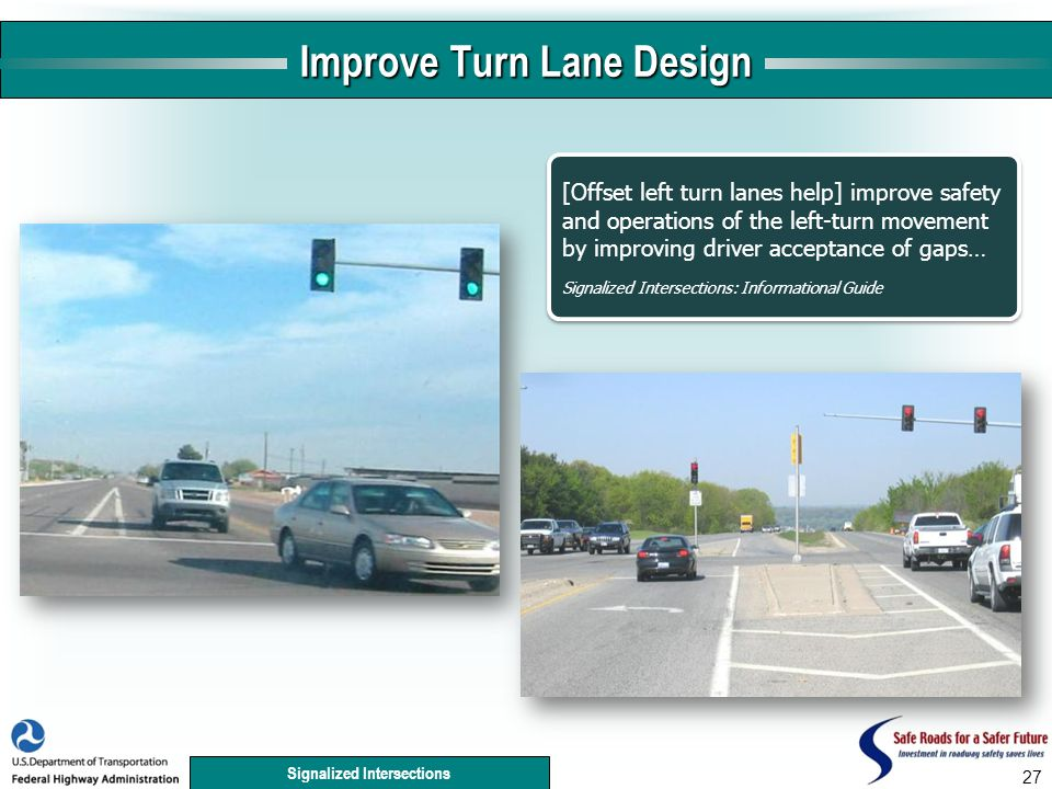 Signalized Intersections 27 Improve Turn Lane Design [Offset left turn lanes help] improve safety and operations of the left-turn movement by improving driver acceptance of gaps… Signalized Intersections: Informational Guide [Offset left turn lanes help] improve safety and operations of the left-turn movement by improving driver acceptance of gaps… Signalized Intersections: Informational Guide