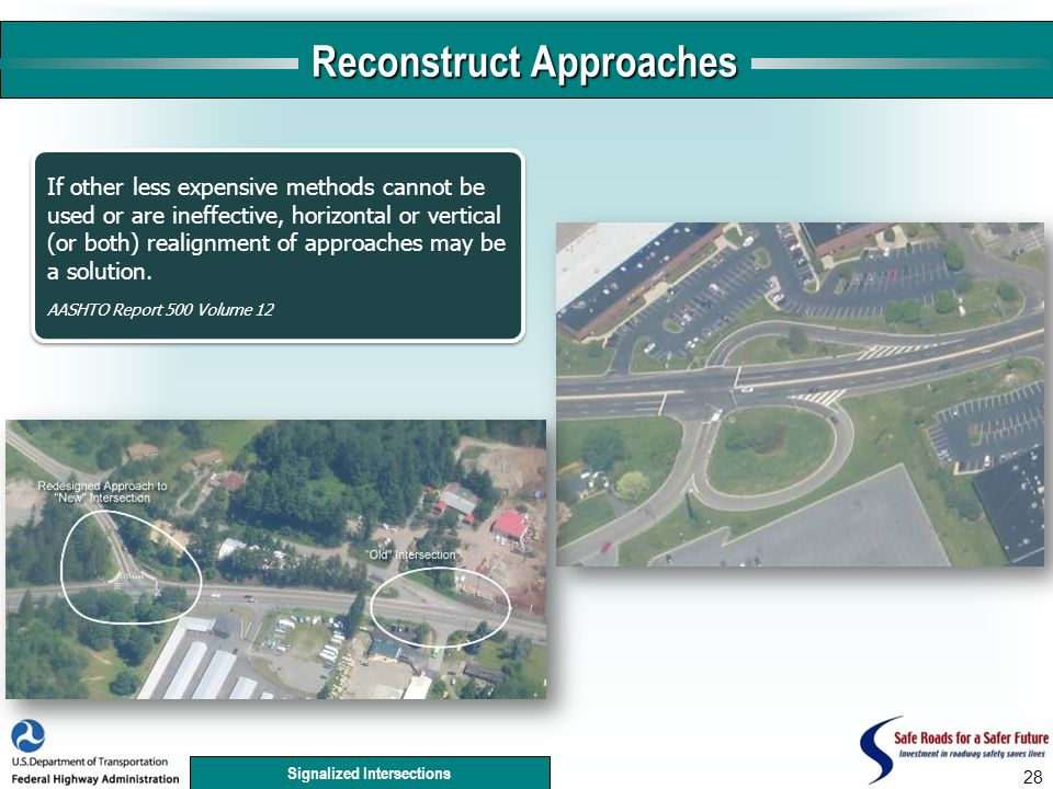 Signalized Intersections 28 Reconstruct Approaches If other less expensive methods cannot be used or are ineffective, horizontal or vertical (or both) realignment of approaches may be a solution.