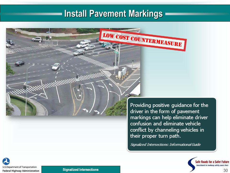 Signalized Intersections 30 Install Pavement Markings Providing positive guidance for the driver in the form of pavement markings can help eliminate driver confusion and eliminate vehicle conflict by channeling vehicles in their proper turn path.