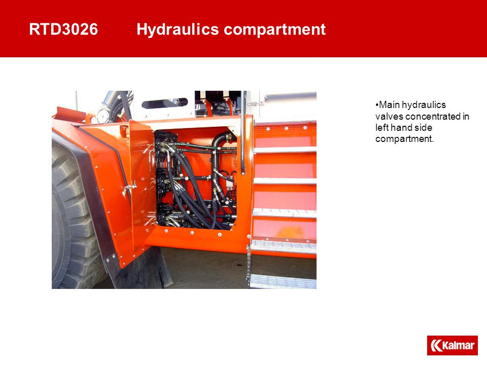 RTD3026Hydraulics compartment Main hydraulics valves concentrated in left hand side compartment.