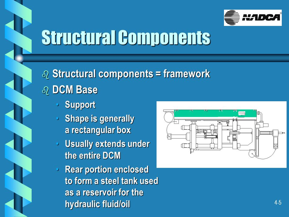 4-5 Structural Components b Structural components = framework b DCM Base Support Support Shape is generally a rectangular box Shape is generally a rectangular box Usually extends under the entire DCM Usually extends under the entire DCM Rear portion enclosed to form a steel tank used as a reservoir for the hydraulic fluid/oil Rear portion enclosed to form a steel tank used as a reservoir for the hydraulic fluid/oil