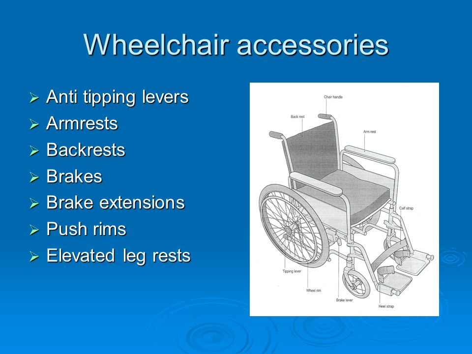 Wheelchair accessories  Anti tipping levers  Armrests  Backrests  Brakes  Brake extensions  Push rims  Elevated leg rests