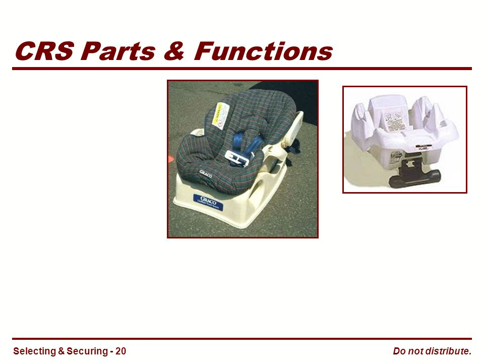 Do not distribute. CRS Parts & Functions Selecting & Securing - 20