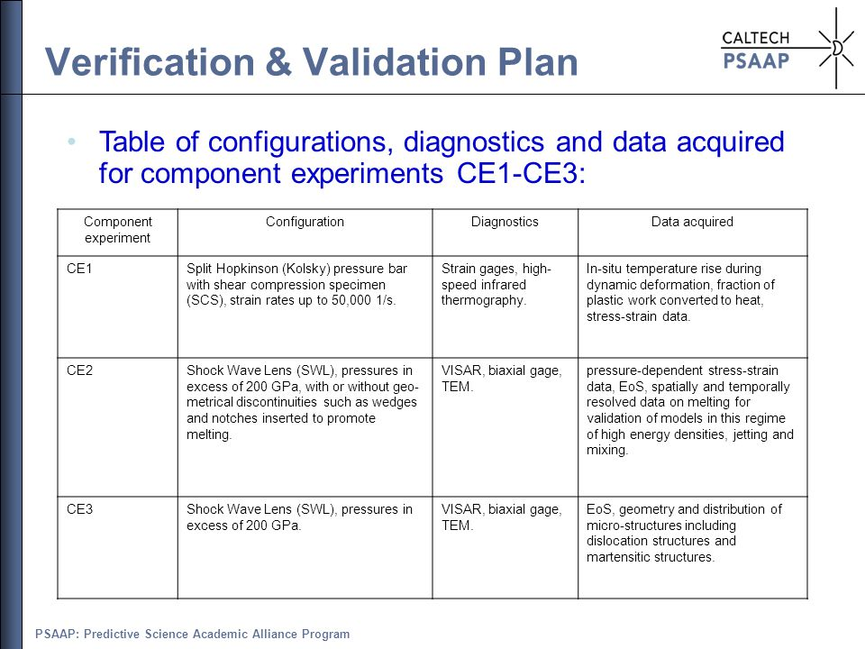 PSAAP: Predictive Science Academic Alliance Program Verification & Validation Plan Table of configurations, diagnostics and data acquired for componen