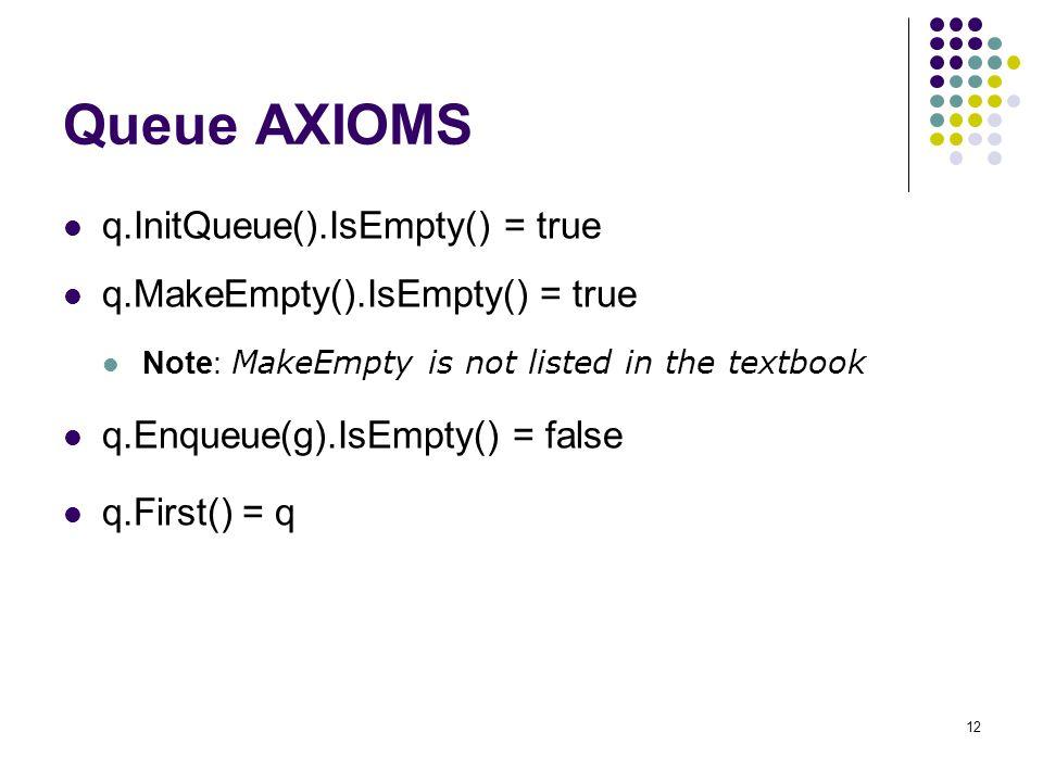 12 Queue AXIOMS q.InitQueue().IsEmpty() = true q.MakeEmpty().IsEmpty() = true Note: MakeEmpty is not listed in the textbook q.Enqueue(g).IsEmpty() = f