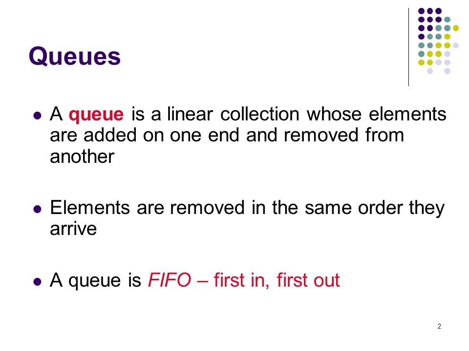 33 Examples 2a Problem 2: ReverseQueue(Q): A procedure to reverse the elements in a queue Q, using a stack Pre: queue Q, initialized (possibly empty) Post: Q contains all elements re-written in reverse order