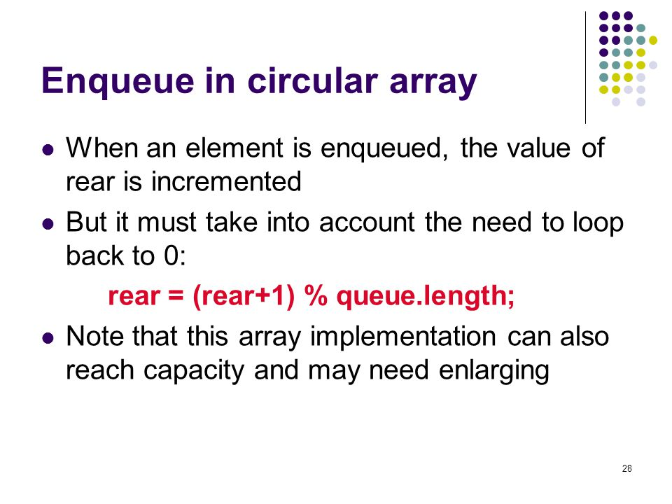 28 Enqueue in circular array When an element is enqueued, the value of rear is incremented But it must take into account the need to loop back to 0: r