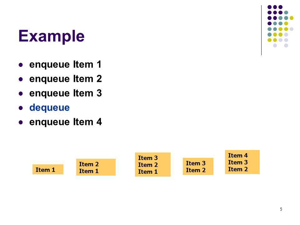 5 Example enqueue Item 1 enqueue Item 2 enqueue Item 3 dequeue enqueue Item 4 Item 1 Item 2 Item 1 Item 3 Item 2 Item 1 Item 3 Item 2 Item 4 Item 3 It