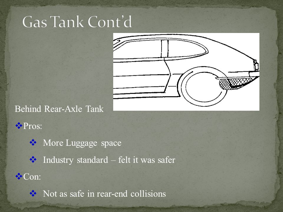 Over-the-axle-tank Pro: Performed well in rear-end collisions Cons: Long round-about filler pipe Closer to passengers in back seat Higher center of gravity Reduced trunk space
