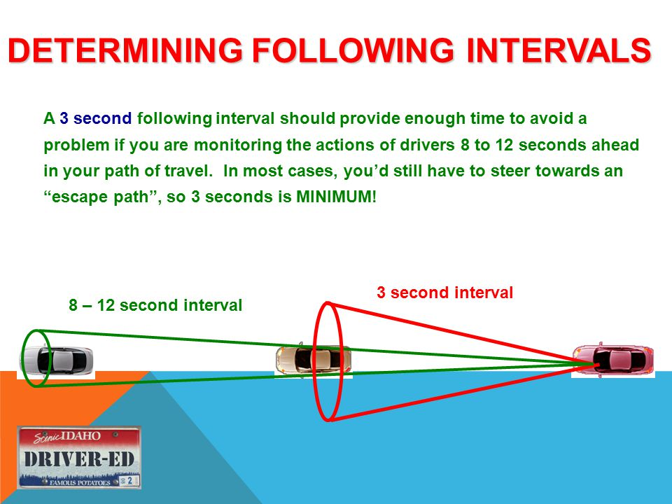 DETERMINING FOLLOWING INTERVALS A 3 second following interval should provide enough time to avoid a problem if you are monitoring the actions of drivers 8 to 12 seconds ahead in your path of travel.