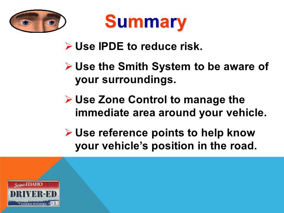 SummarySummarySummarySummary  Use IPDE to reduce risk.