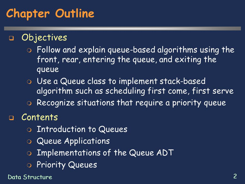 Data Structure 13 Array Implementation of a Queue  data : Queue's item are held in data  front, rear : private instance variable hold the indexes for the front and rear  manyItems : records the number of items that are in the queue  nextIndex : private method  Helper method  It is not part of the public specification  It is just for our own use in implementing a specific kind of queue