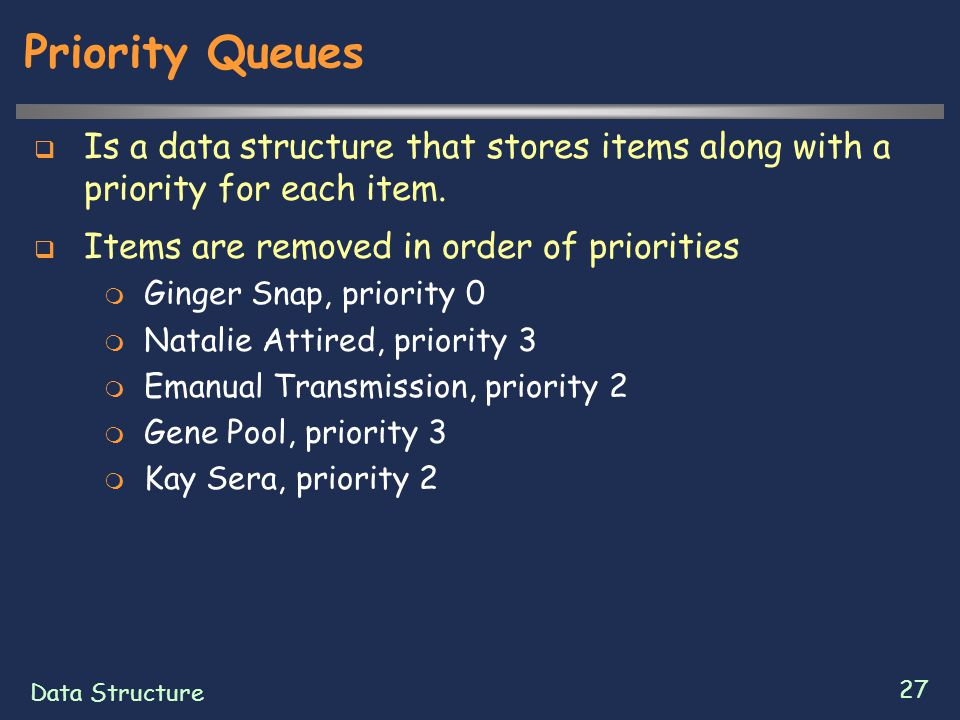Data Structure 27 Priority Queues  Is a data structure that stores items along with a priority for each item.