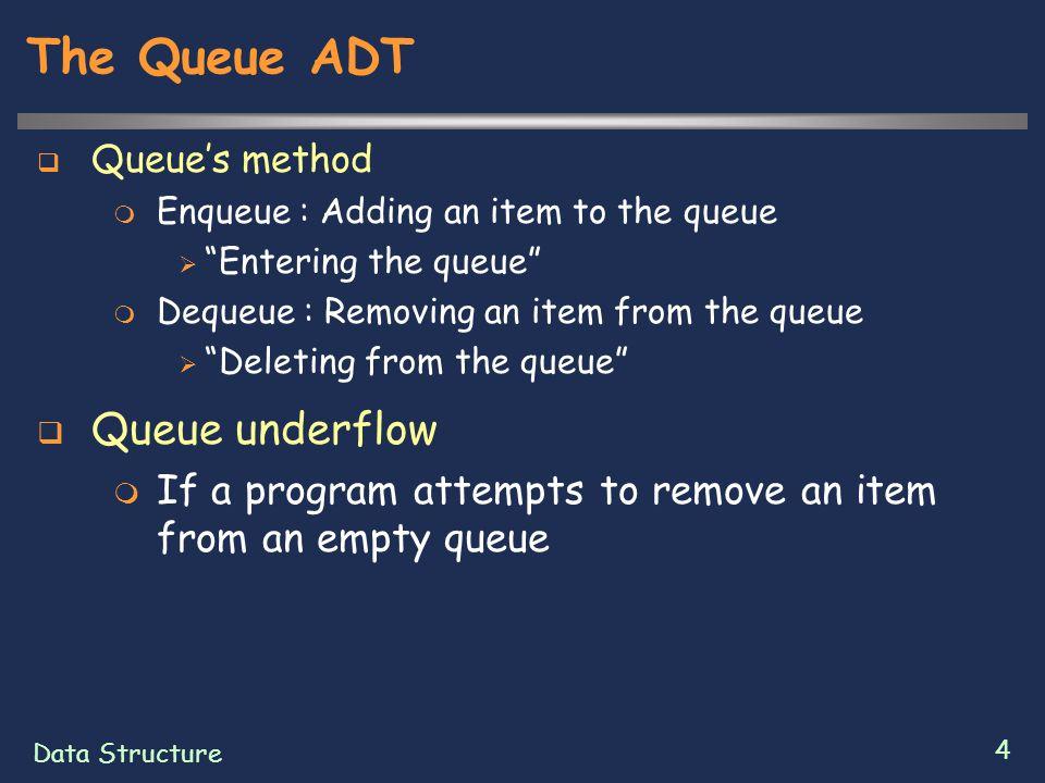 """Data Structure 4 The Queue ADT  Queue's method  Enqueue : Adding an item to the queue  """"Entering the queue""""  Dequeue : Removing an item from the q"""