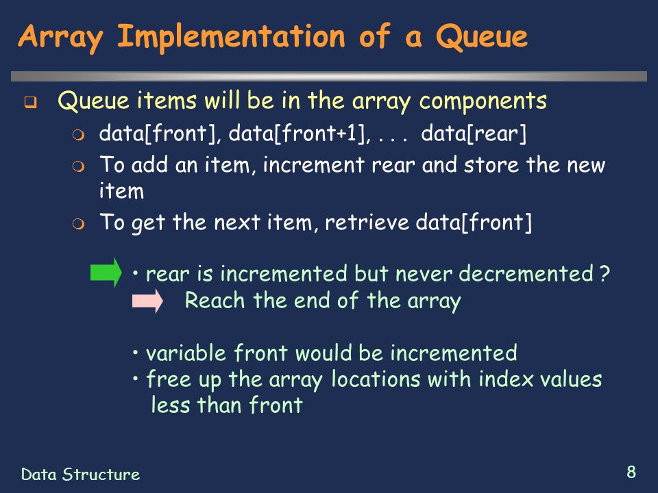 Data Structure 9 Array Implementation of a Queue  Way to reuse freed locations  Maintain all the queue items so that front is equal to 0  It is very inefficient  Think of the array as being bent into a circle  When the rear index reaches the end of the array, start using the available locations at the front of the array  The successor of the last array index is the first array index