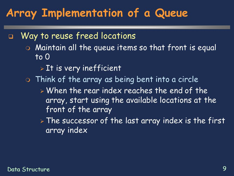 Data Structure 10 Array Implementation of a Queue [0] [1] [2] [3] [4] A B C .