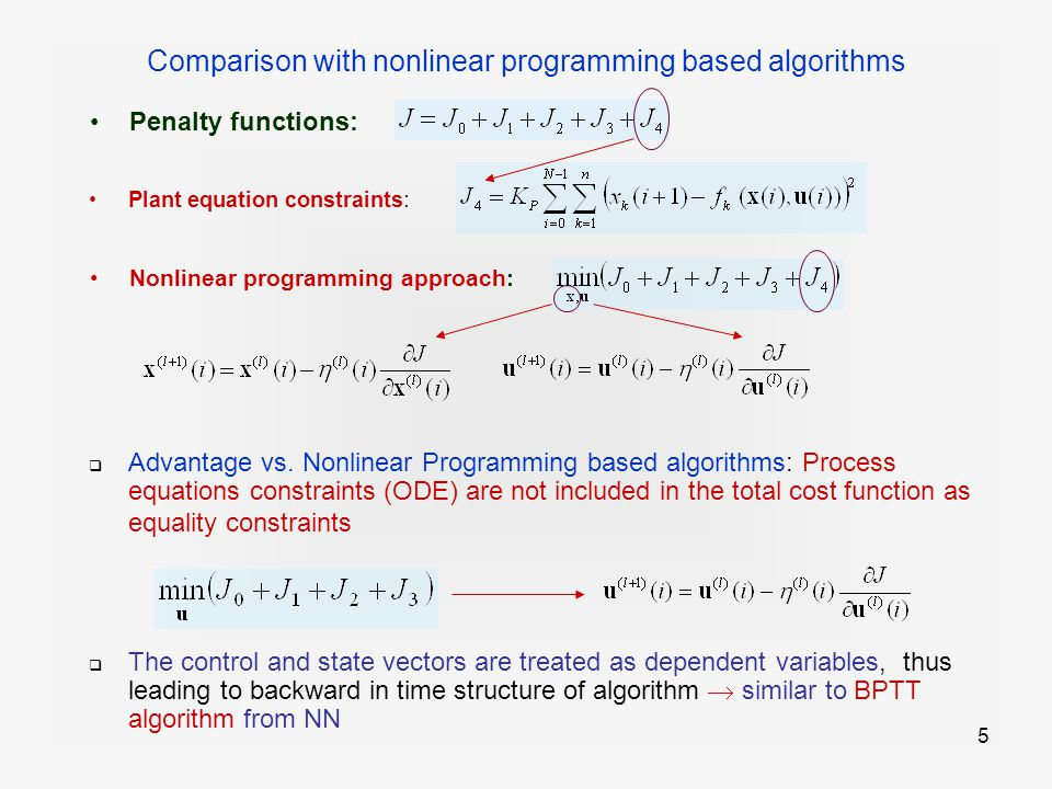 5 Comparison with nonlinear programming based algorithms Penalty functions: Nonlinear programming approach: Plant equation constraints :  Advantage vs.