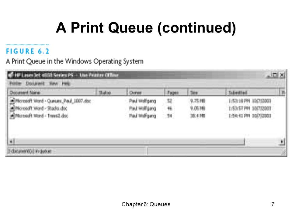 Chapter 6: Queues38 Implementing ArrayQueue (2) public ArrayQueue () { this(DEFAULT_CAPACITY); } public ArrayQueue (int capacity) { data = (E[]) new Object[capacity]; this.capacity = capacity; this.size = 0; this.front = 0; this.rear = capacity - 1; }