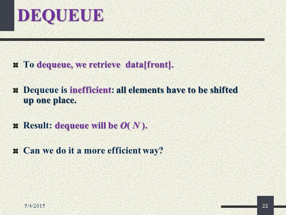DEQUEUE dequeue,we retrieve data[front]. To dequeue, we retrieve data[front].