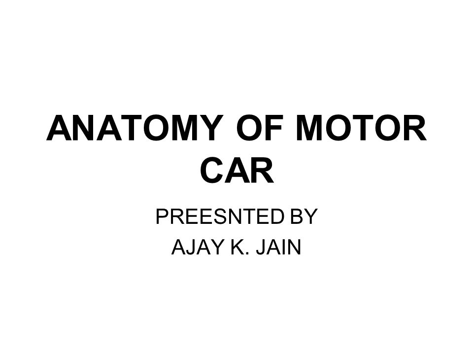 ANATOMY OF MOTOR CAR PREESNTED BY AJAY K. JAIN