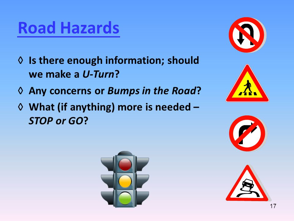 17 Road Hazards ◊Is there enough information; should we make a U-Turn.
