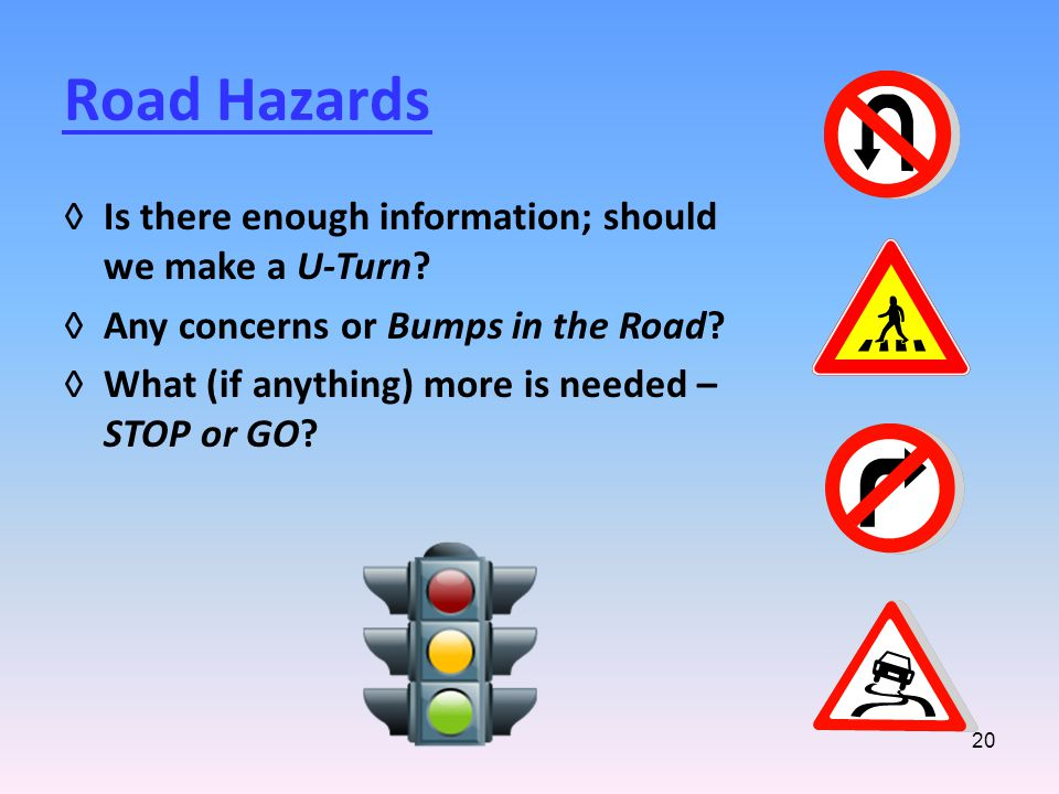 20 Road Hazards ◊Is there enough information; should we make a U-Turn.