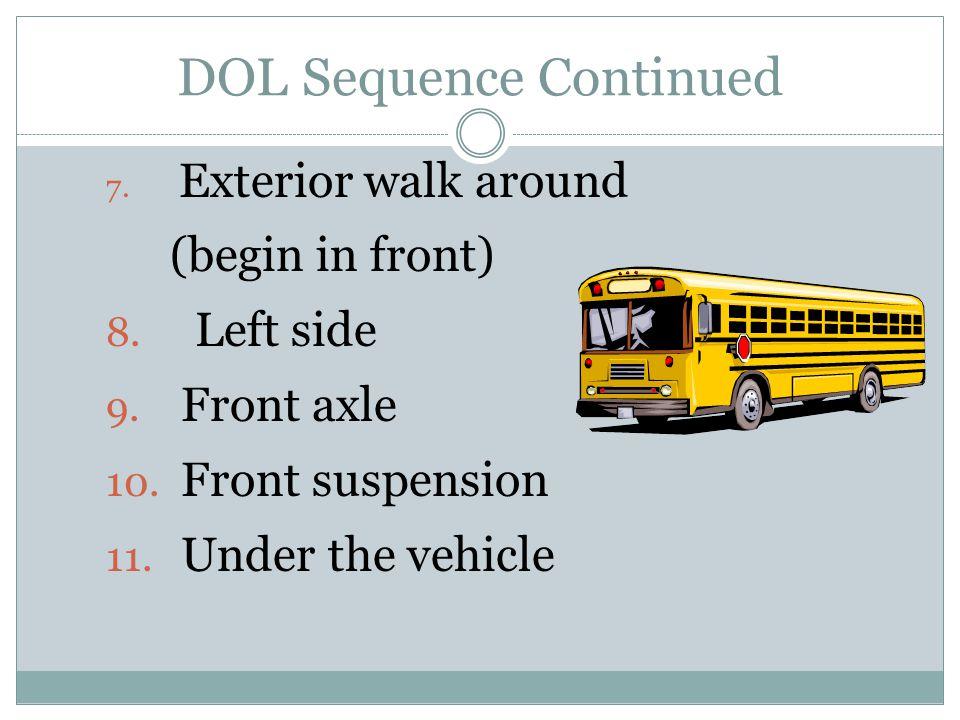 7. Exterior walk around (begin in front) 8. Left side 9.
