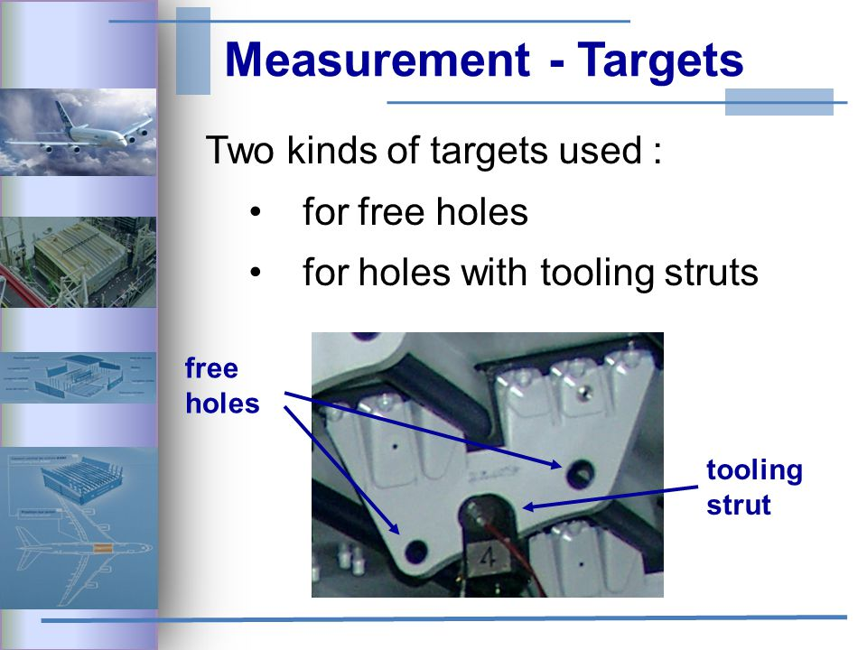 Measurement - Targets Two kinds of targets used : for free holes for holes with tooling struts free holes tooling strut