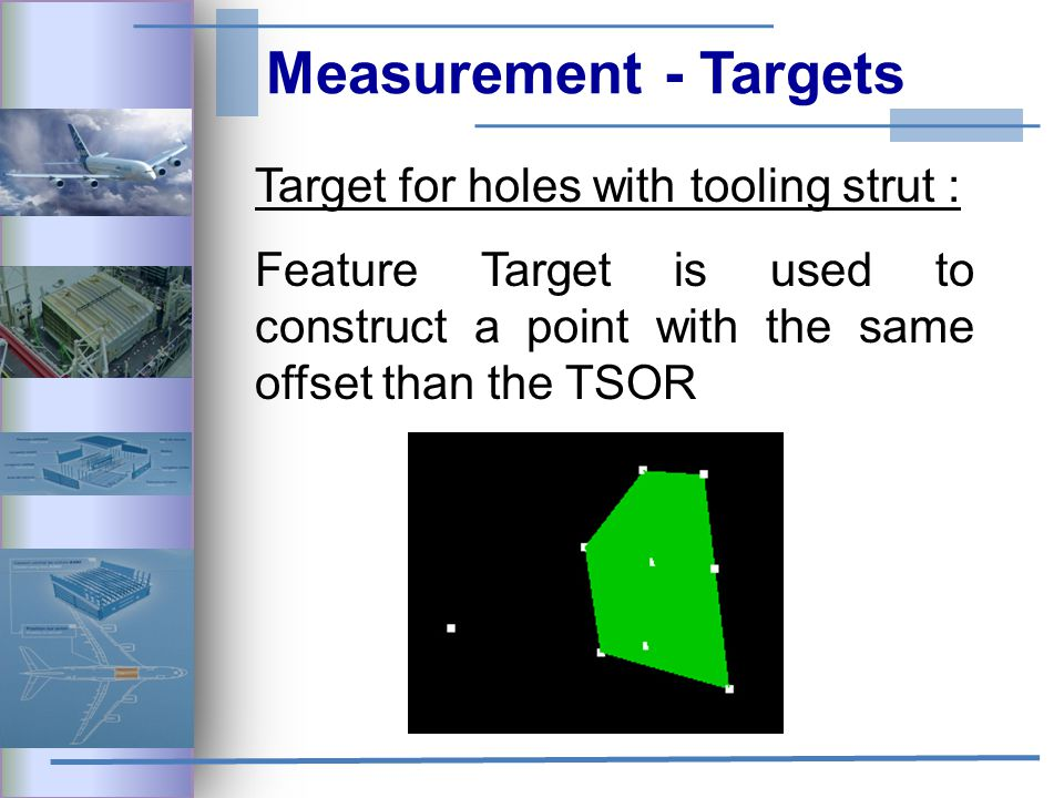 Measurement - Targets Target for holes with tooling strut : Feature Target is used to construct a point with the same offset than the TSOR