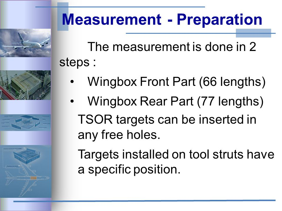 Measurement - Preparation The measurement is done in 2 steps : Wingbox Front Part (66 lengths) Wingbox Rear Part (77 lengths) TSOR targets can be inserted in any free holes.