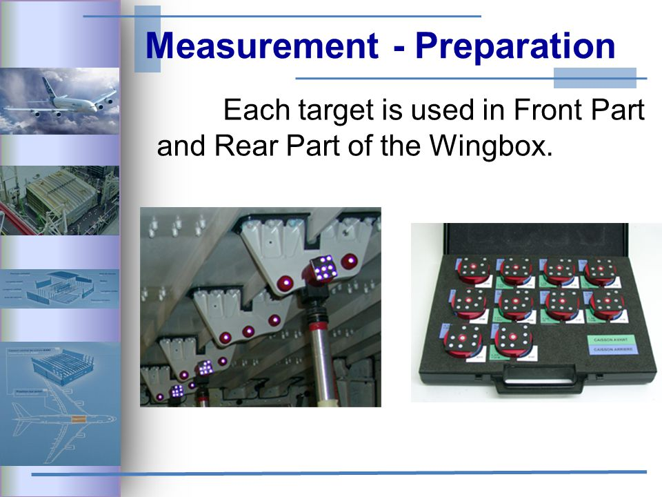 Measurement - Preparation Each target is used in Front Part and Rear Part of the Wingbox.