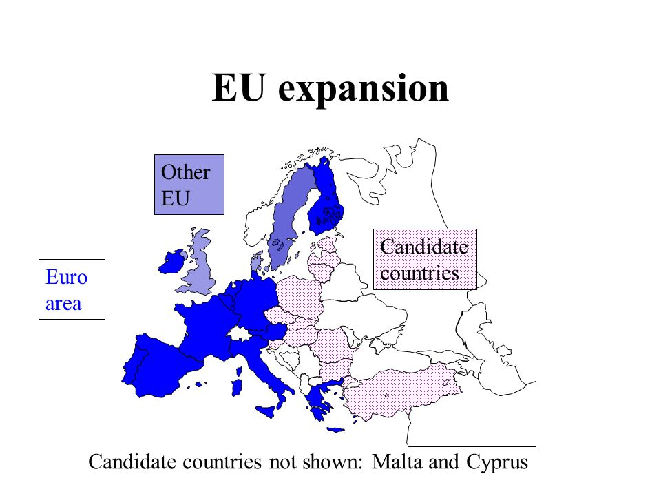 EU expansion Euro area Other EU Candidate countries Candidate countries not shown: Malta and Cyprus