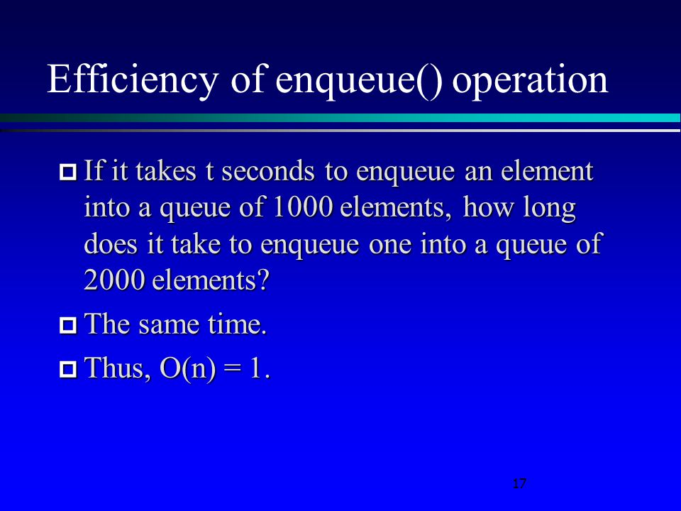 Efficiency of enqueue() operation  If it takes t seconds to enqueue an element into a queue of 1000 elements, how long does it take to enqueue one into a queue of 2000 elements.