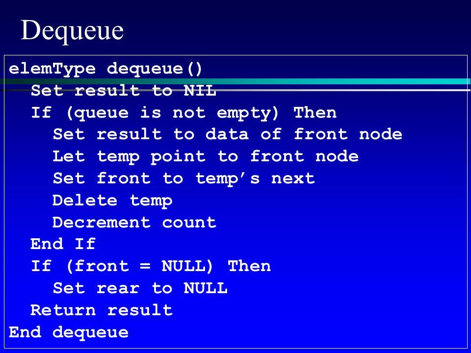 Dequeue elemType dequeue() Set result to NIL If (queue is not empty) Then Set result to data of front node Let temp point to front node Set front to temp's next Delete temp Decrement count End If If (front = NULL) Then Set rear to NULL Return result End dequeue