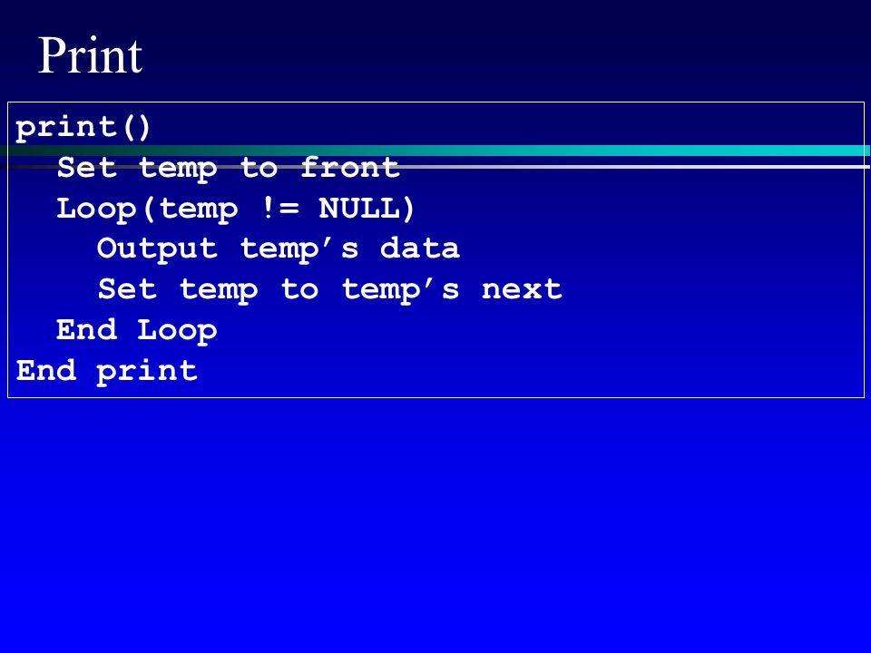 Print print() Set temp to front Loop(temp != NULL) Output temp's data Set temp to temp's next End Loop End print