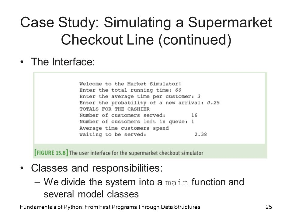 Fundamentals of Python: From First Programs Through Data Structures25 Case Study: Simulating a Supermarket Checkout Line (continued) The Interface: Cl