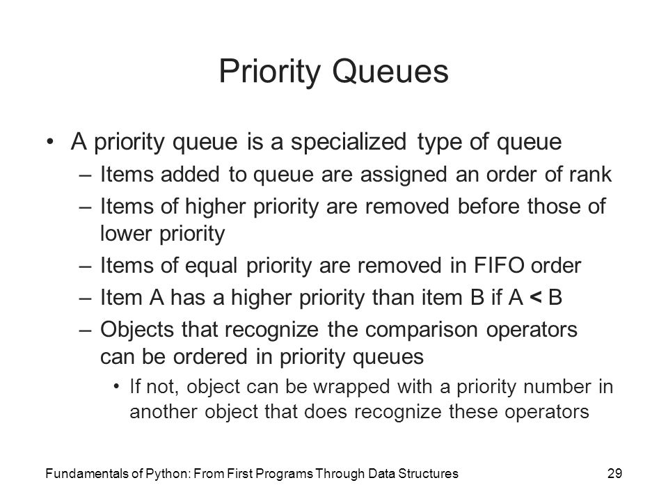 Fundamentals of Python: From First Programs Through Data Structures29 Priority Queues A priority queue is a specialized type of queue –Items added to