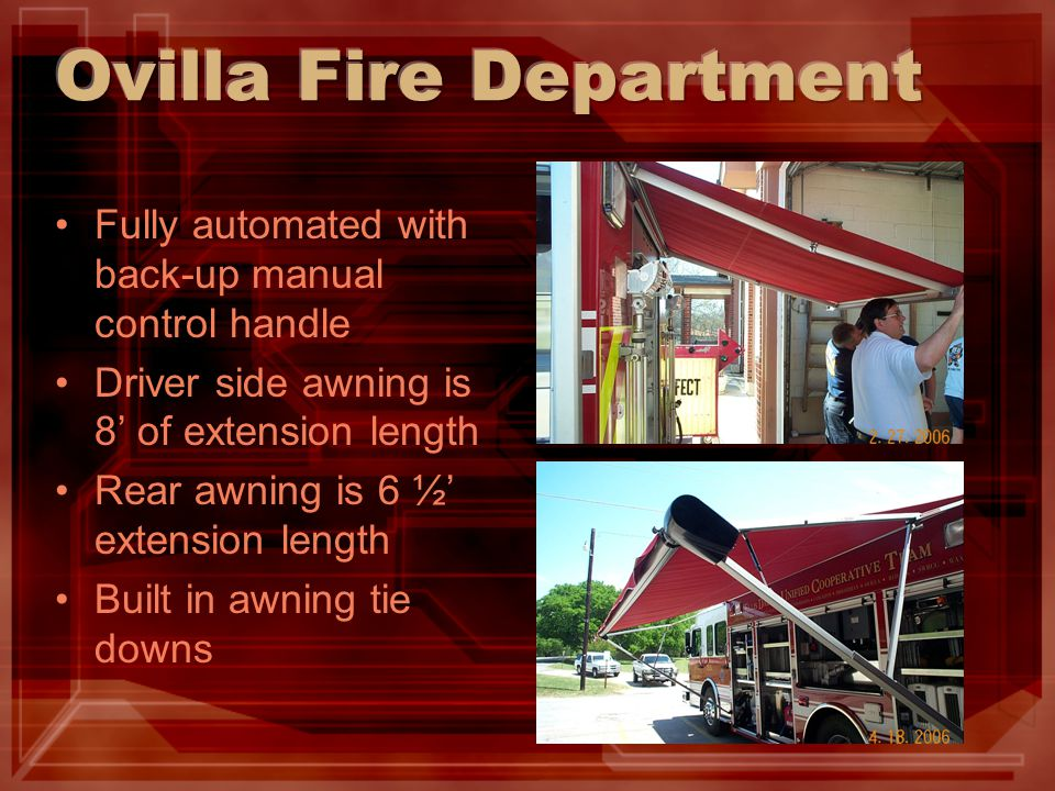 Fully automated with back-up manual control handle Driver side awning is 8' of extension length Rear awning is 6 ½' extension length Built in awning t