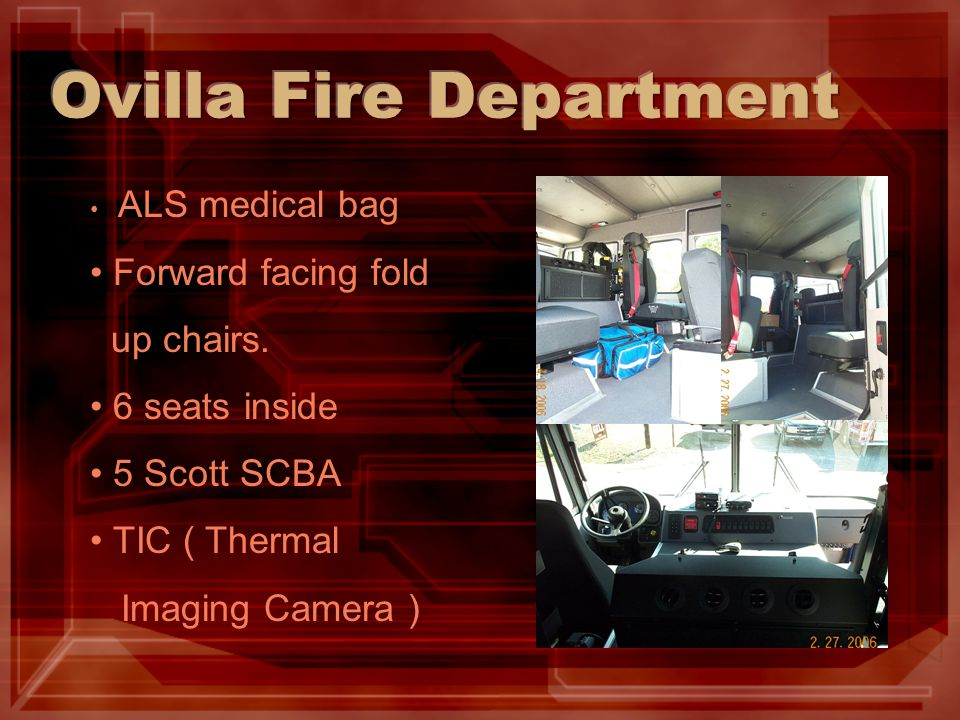 ALS medical bag Forward facing fold up chairs.